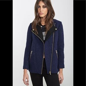 Navy Boucle Asymmetrical Peacoat moto jacket